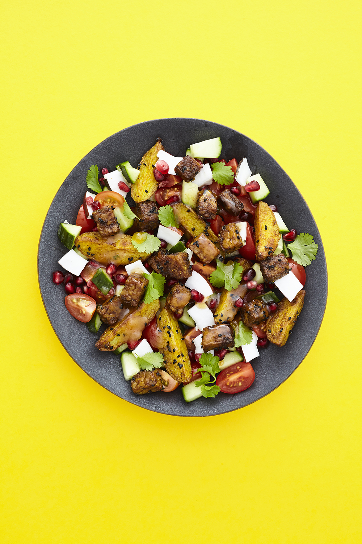 Tempeh Cubed Madras Bombay Potato Salad