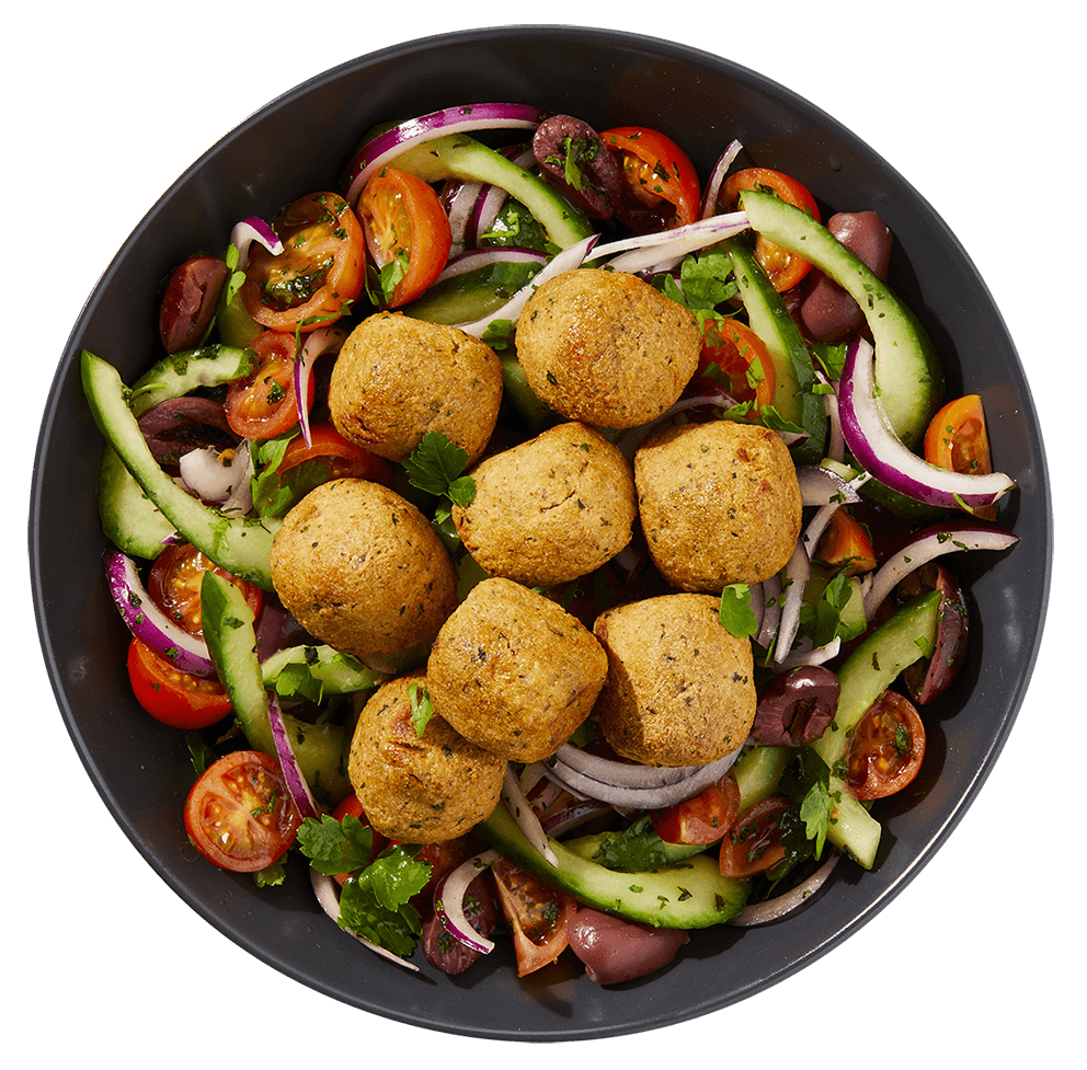 Tofoo Falafel greek salad